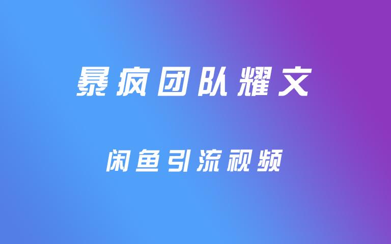 暴疯团队耀文闲鱼引流视频