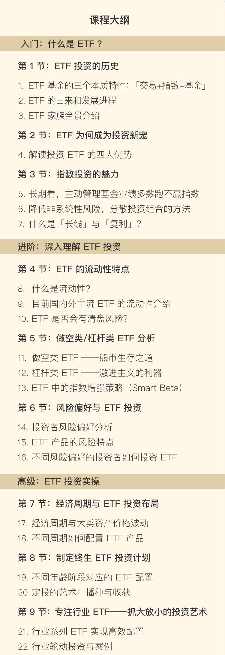 陈在天从稳ETF的车:投资新宠ETF全解析课程大纲